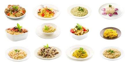 makarony: zdjęcie pyszne włoskie makarony i dania z ryżu putted w kolażu