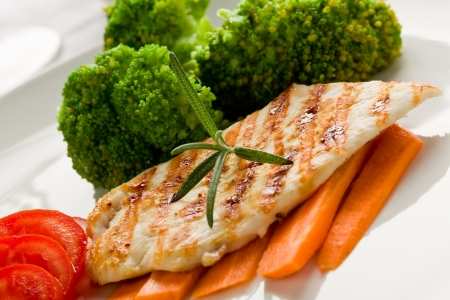 photo of delicious grilled chicken breast with various vegetables Stock Photo - 10840690