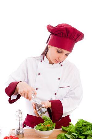 photo of succesfull female restaurant chef on white background Stock Photo - 10840672
