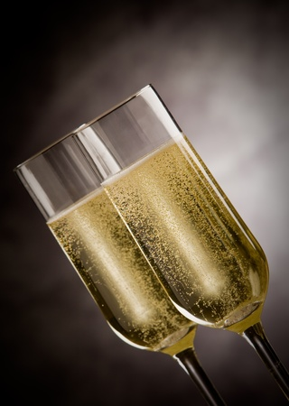 photo of christmas new year champagner glasses in front of rural background  Stock Photo - 10951734
