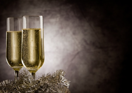photo of christmas new year champagner glasses in front of rural background  photo