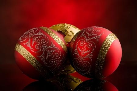 photo of shiny round christmas balls in front of rural background Stock Photo