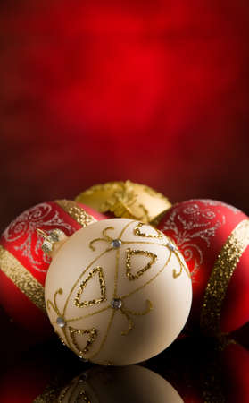 photo of shiny round christmas balls in front of rural background Stock Photo - 10951727