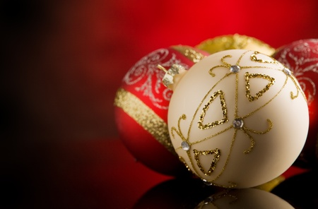 photo of shiny round christmas balls in front of rural background Stock Photo - 10951736