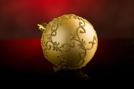 photo of shiny round christmas balls in front of rural background Stock Photo - 10951756