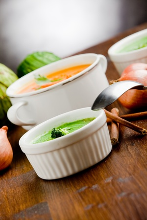 photo of delicious creamy smooth vegetarian soups photo