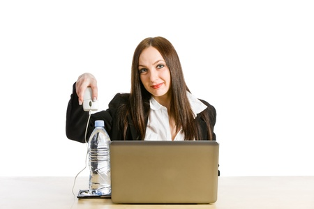 understands: conceptual photo of woman who doesnt understands computer Stock Photo