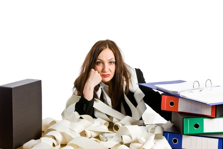 undone: photo of overworked woman at her desk on white background
