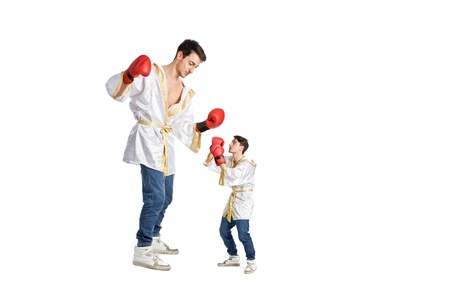 conceptual disadvantage photo showing giant against dwarf on white background photo