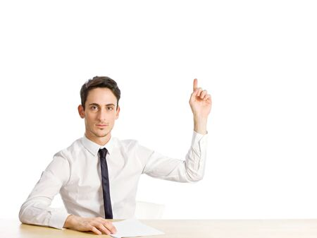 i am here: conceptual photo of the solution candidate on white background Stock Photo