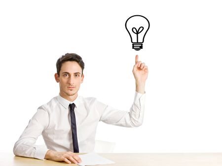 conceptual photo of man who had a creative idea on white isolated background