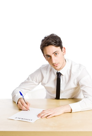 conceptual photo of man with contract on white background photo