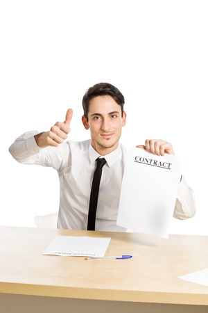 conceptual photo of happy business man with contract on white photo
