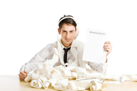 conceptual photo of man showing us his financial report photo