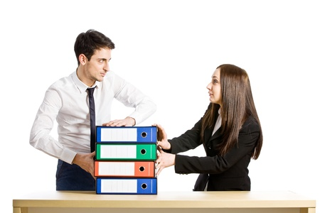 photo of job life where boss is giving more tasks to his employees photo