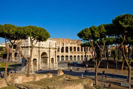lazio: landscape photo of the roman colosseum and constantines arch  Stock Photo