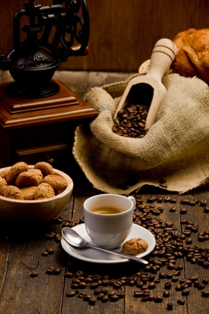 pastry bag: Photo of delicious hot espresso coffee on wooden table Stock Photo