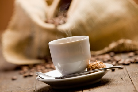 expresso: Photo of delicious hot espresso coffee on wooden table Stock Photo