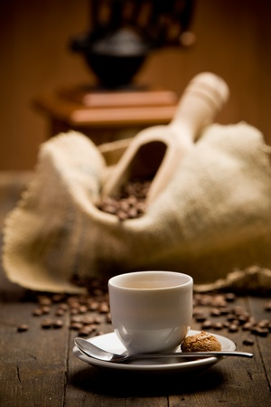 Photo of delicious hot espresso coffee on wooden table Stock Photo - 11971310