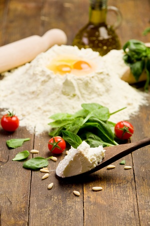 Various ingredients for homemade italian ravioli with ricotta cheese photo