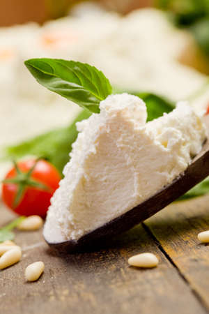 ricotta cheese: Various ingredients for homemade italian ravioli with ricotta cheese
