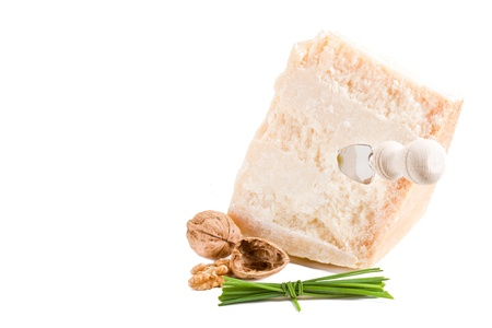 photo of italian parmesan cheese with walnut on white background photo