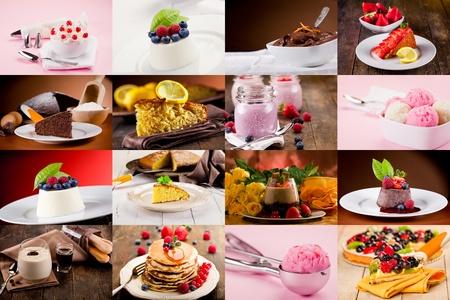 tiramisu: collage de photo diverses de d�licieux desserts Banque d'images