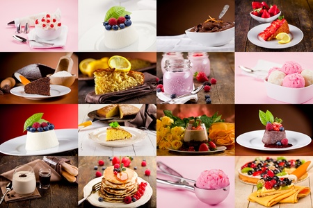 collage of various photo of delicious desserts Stok Fotoğraf