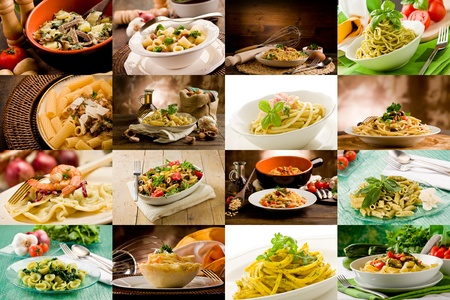 macaroni: collage of various photo of delicious italian pasta dishes