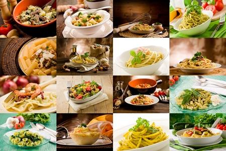 macaroni: collage van verschillende foto's van heerlijke Italiaanse pasta gerechten Stockfoto