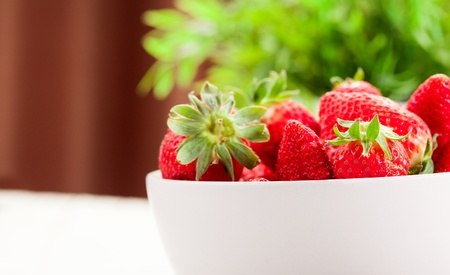 photo of strawberries with a green plan as a background photo