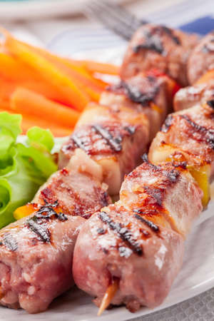 Delicious meat skewers with carrots and salad Stock Photo - 13500168