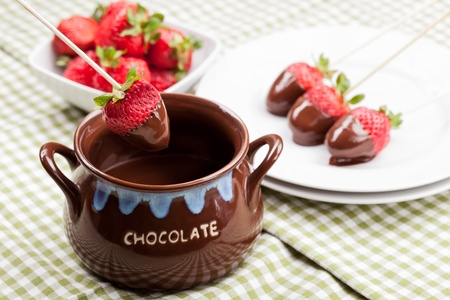 delicious strawberries with melted chocolate Stock Photo