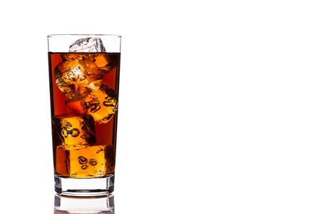 photo of ice tea with ice cubes on white background photo