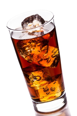 ice tea: photo of ice tea with ice cubes on white background