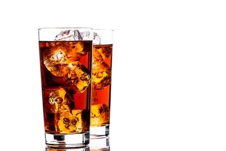 ice tea: photo of ice tea with ice cubes on white background