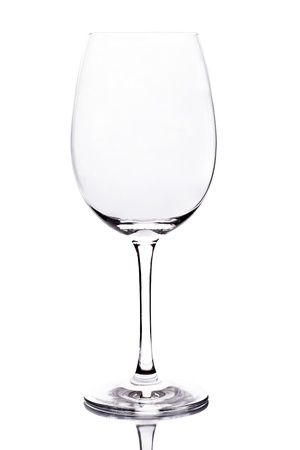 empty wine glasson white background