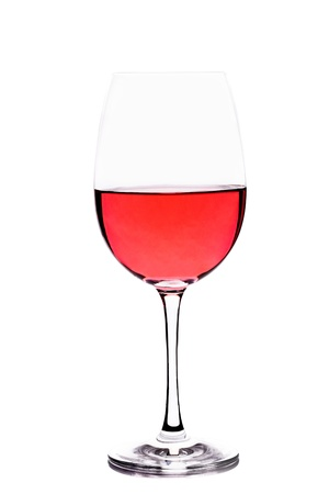 goblet with rosè wine on white background