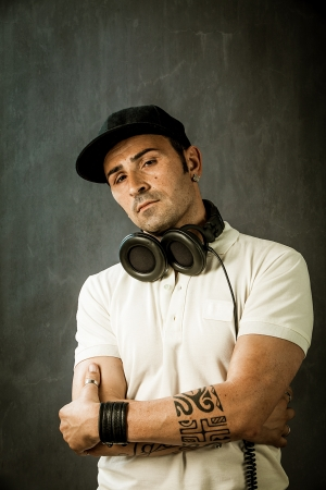 photo of dj with headphones in front of a rural background Stock Photo - 13965803
