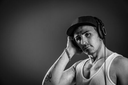 photo of a header concept with a dj in black and white photo