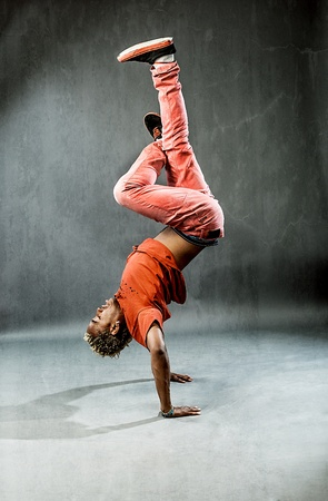 break dancer: image of a break dancer who is performing his move   Stock Photo