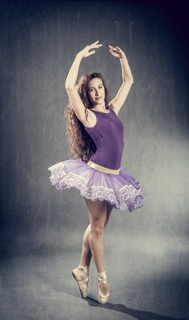 Photo of sexy brunette ballerina in retro style  photo
