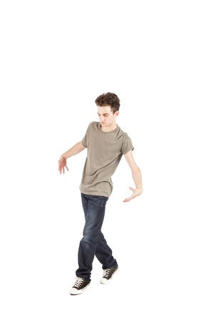 dance pose:  young dancer who is performing foot work