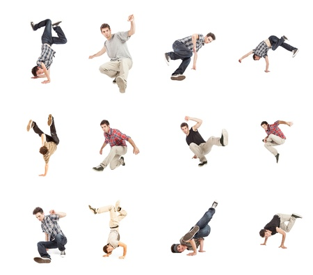 photo collage of breakdancer on white background photo