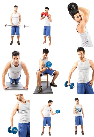 young adult man: photo collage of young adult man making fitness excercise