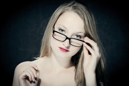 portrait of a beautiful blonde teacher Stock Photo - 15692324