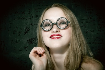 horizontale:  a sexy female nerd with funny glasses Stock Photo
