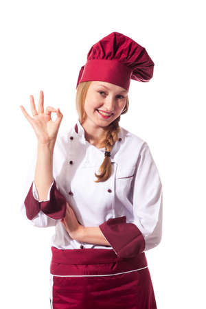 carreer: young succesful chef on white background with  Stock Photo