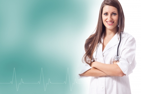 Female doctor with heartbeat frequency photo