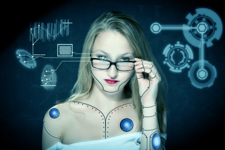 robot girl: female cyborg checking up herself with iris scan